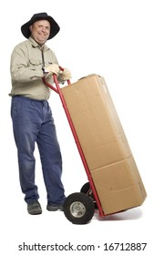 Man with box on trolley