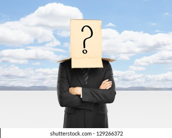 man with a box and question mark