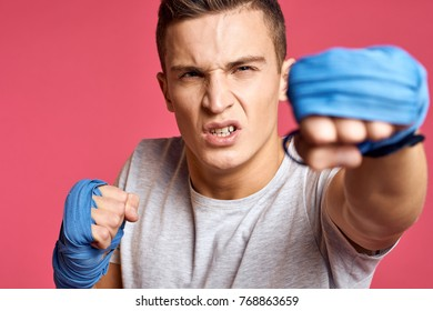 man, boxing on a pink background