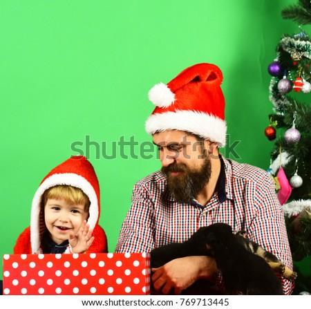 806b91276de1b Man and boy in Santa hats play with puppies. New year of Dog concept.
