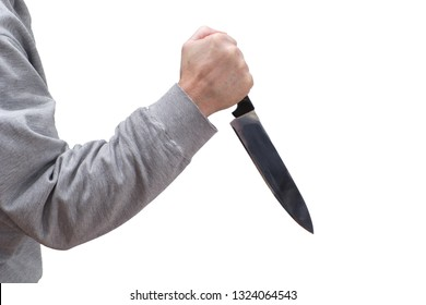 Man brandishing kitchen knife in a threatening manner. Isolated on white.