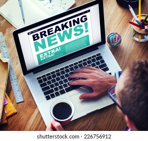 Man Breaking News Top Story Internet Connection Concept