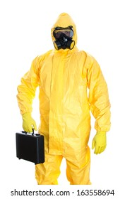 Man with briefcase in protective hazmat suit. Isolated on white.