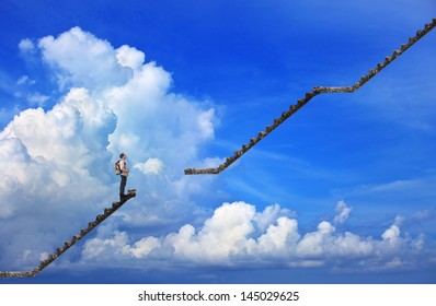 man and broken step with blue sky background use for multipurpose