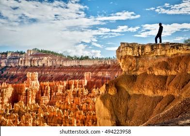 Man at Bryce canyon, Sunset point, Utah, USA