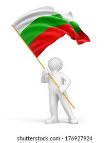 Man and Bulgarian flag (clipping path included)