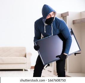Un cambrioleur vole la télévision depuis la maison