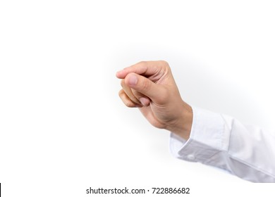 Man business hand on white background