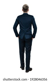 Man in a business suit, businessman back view. Isolated on a white background