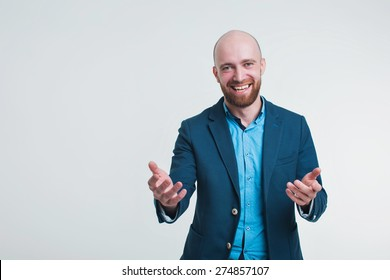 a man in a business suit running and gesturing on white background