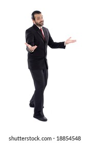 Man or businessman opening his arms .