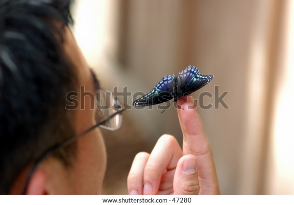 Man and butterfly