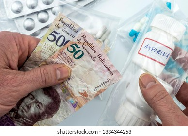 Man buying basic medication in venezuela, shady deal of medicines in full crisis of Latin American country, conceptual image