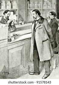 """A man buys drugs at the pharmacy - illustration by A.Korin, """"Illustrated collection of the works by Leo Tolstoy,"""" publisher - """"Partnership Sytin"""", Moscow, Russia, 1914."""