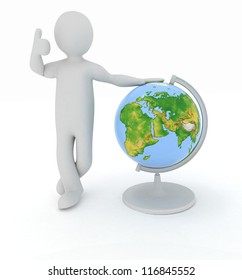 Man by presentation a globe over white background. Elements of this image furnished by NASA