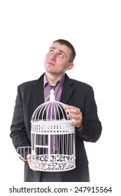 man with a cage for birds isolated on white background closeup