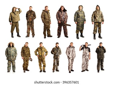 Man in camo overalls isolated on white background