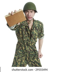Man in camouflage on a white background