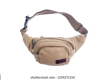 man with  canvas fanny pack