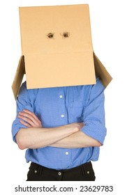 Man with cardboard box instead of head on white