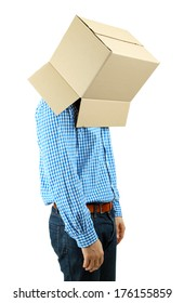 Man with cardboard box on his head isolated on white