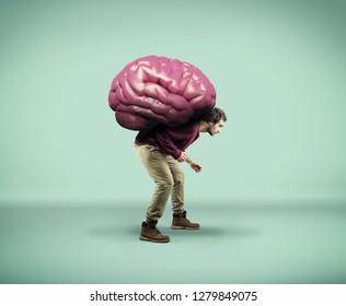 Man carries a big human brain.