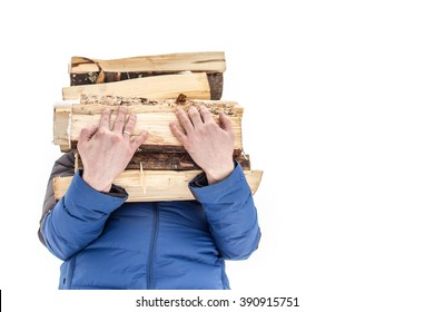 a man carries in his hand a great bunch of chopped firewood in the winter on a white background