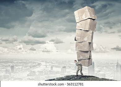 Man carry carton boxes