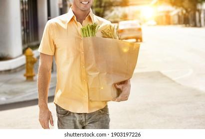 Man Carrying Groceries during lockdown