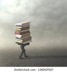 man carrying heavy books on his showlder, difficult wisdom way , surreal concept