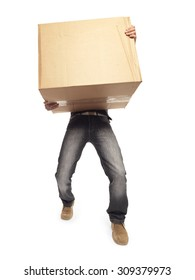Man carrying heavy box