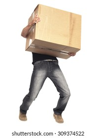 Man carrying heavy box isolated on white with clipping path