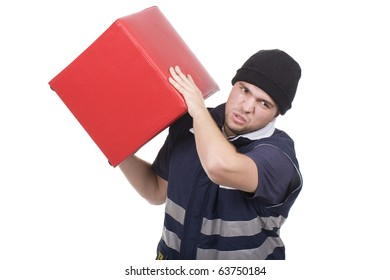 man carrying an heavy and red cube
