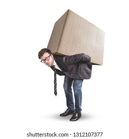 A man is carrying a large cardboard box - isolated on a white background