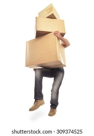 Man carrying too many boxes isolated on white with clipping path