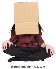 Man with a carton box on a head