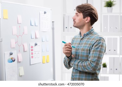 Man in casual clothes looking at whiteboard with stickers. Concept of developing company's strategy to make it successful on market