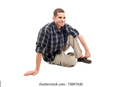 Man with casual clothes on white background .