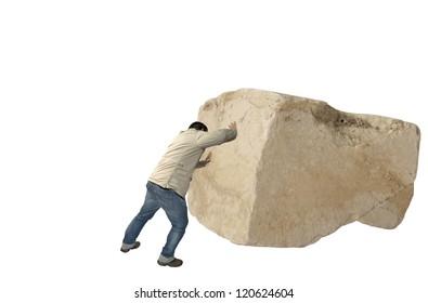 Man casual dress pushing a big rock