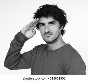 Man Casual Salute Honor Portrait Photography Concept