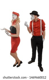 Man catcalling a good-looking woman and sending air kisses. Pantomime performance, society, sexual harassment and abuse.