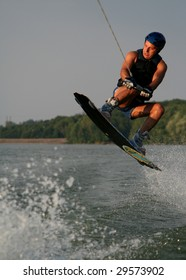 Man Catching Air on a Wakeboard