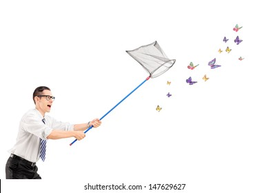 Man catching butterflies with net isolated on white background