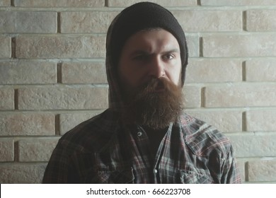 man or caucasian hipster with long beard and moustache with serious face posing in fashionable black hat and plaid hoodie jacket on grey brick wall. Fashion, beauty and lifestyle