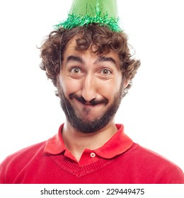 man celebrating face