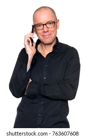 Man with cell in front of white background
