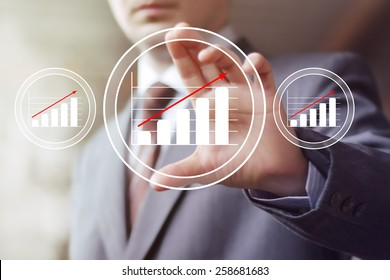 Man with chart business web diagrams sign