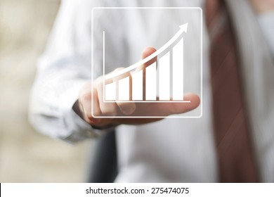 Man with chart online business web diagram icon