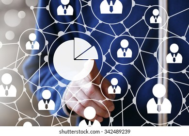 Man with chart online business web icon diagram