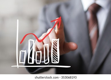 Man with chart online business web diagram